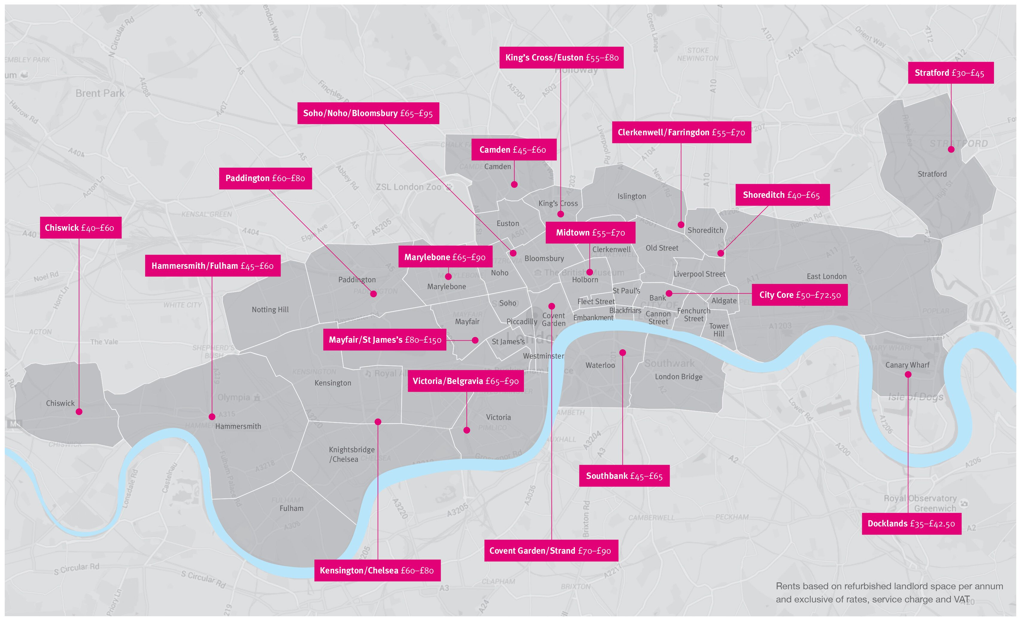 Central London Office Rental Map Jul 2016